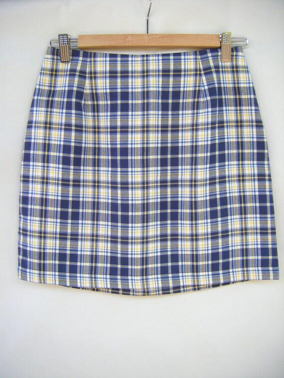 vintage blue yellow plaid mini skirt gap casual business
