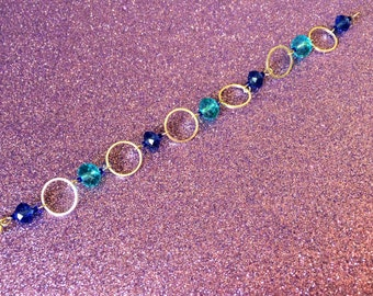 Dark Blue and Turquoise Faceted Crystal Glass Round handmade Bracelet by JulieDeeleyJewellery on Etsy, Ladies Jewellery, Gifts for her