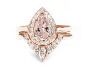 Pear Morganite Engagement Ring with Matching Side Diamond Band - The 3rd Eye , Engagement and Wedding Ring Set