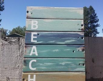 Painted Board Sign,BEACH,Beach Scene, ocean water, horizon, signboard, Painted Wood, Wall sign, Seashells,