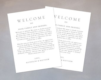 Printable Wedding Welcome Note Template - Lovely Script - DIY Word Template