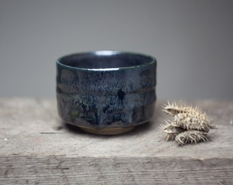 Wood fired stoneware black glazed ceramic  pottery tea bowl