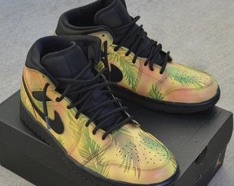 Nike AJ1 Retro - Custom Hand Painted Retro Jordans - Tropical Floral Pattern