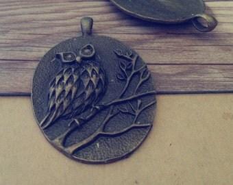 2pcs Antique bronze owl pendant  Charms 47mmx69mm