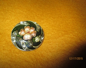 Vintage Cloisonne Art Deco Green Floral Pin with Rhinestones