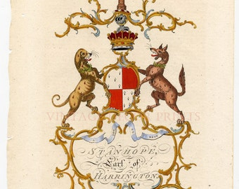 Name of Stanhope Genuine 1700's Heraldry Engraving. 'Stanhope' Hand Colored Engraving. Ancestry Gift For Someone With The Name of Stanhope..