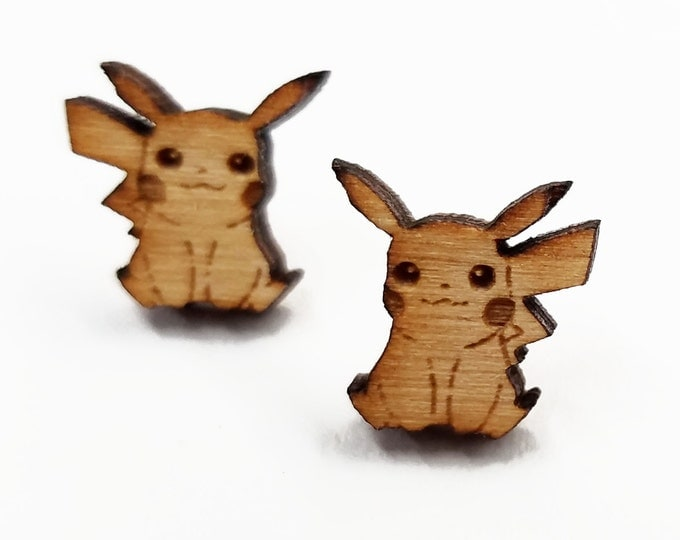 Pikachu Pokemon Earrings | Laser Cut Jewelry | Hypoallergenic Studs | Wood Earrings