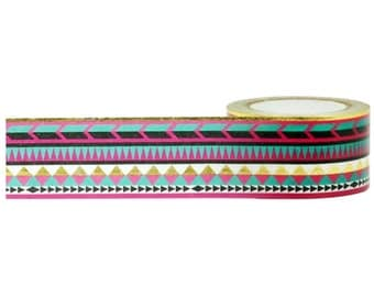Gold Foil Tribal Washi Tape, 25mm x 10m - with Cutter, by Little B