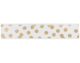 Gold Scatter Dot Fabric Tape - Adhesive Ribbon - 3 Yards by American Crafts - for Scrapbooks, Handmade Cards, Crafts