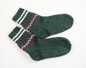 Hand Knitted Wool Socks - Green and Gray, Size Large