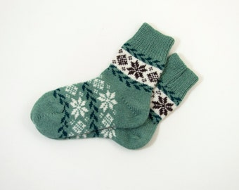 Knitted Wool Socks, Folk Pattern Socks - Teal and White, Size Medium