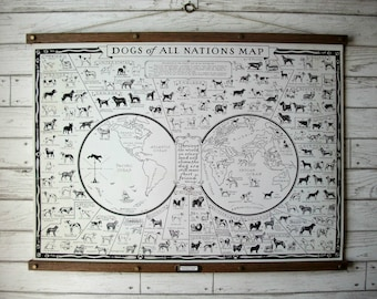 Dogs of All Nations World Map / Vintage Pull Down Reproduction Chart / Canvas Fabric or Paper Print / Oak Wood Hanger with Brass Hardware