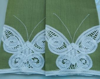 Green Butterfly Tea Towels - Vintage Tea Towels - Olive Green Guest Towels - Fingertip Towels - Battenberg Tea Towels - Avocado Green Towels