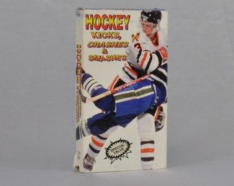 Vintage VHS Tape Hockey Kicks Crashes & Smashes - Brett Hull - Bobby Orr - Wayne Gretzky - Ice - Sports - Bone Crunching - Hockey Stick