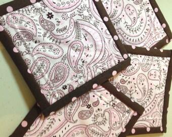 """4.5"""" Bandana Print Quilt Block Fabric Indoor/Outdoor/Picnic Coasters/Mug Mats - 4 piece set"""