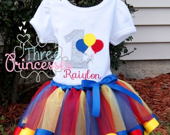 Circus Balloons Ribbon Tutu Set Includes Tutu Shirt and Bow Primary Colors