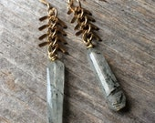 brass fishbone chain and rutilated quartz crystal earrings