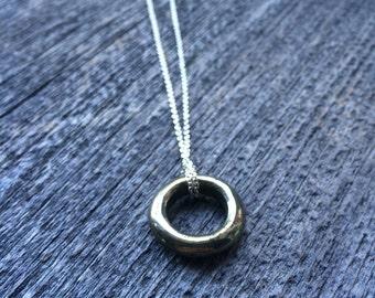 PYRITE TORUS fools gold circle sterling layering necklace
