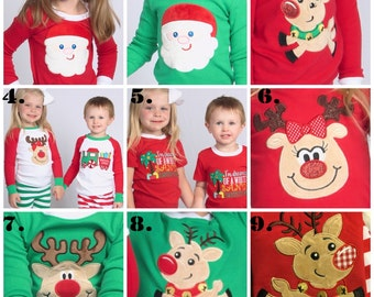 Christmas pajamas for family top and pants sets Reindeer or Santa applique green red & white stripes baby toddler kids monogrammed PJs IN ST