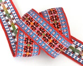 "Vintage Woven Jacquard Ribbon  2"" x 1 yd Red, Turquoise, Black etc. Hippie Trim"