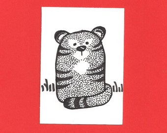 ACEO,  ATC, Tiger, Original, Art Trading Card, Hand Drawn, Kid Friendly, Black and White