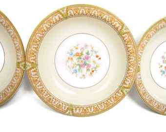 Vintage Noritake China Ronald Pattern Made in Japan Soup Bowl Salad Bowl Set of 3 Gold and Floral