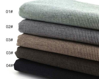Houndstooth Cotton Fabric, Yarn-Dyed Plain Cotton Fabric, 5 Colors for Choice, Cotton Fabric- 1/2 Yard (QT843)