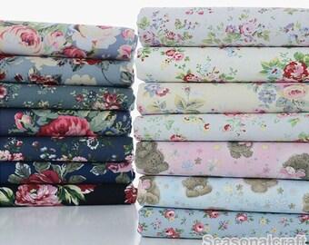 Shabby Chic Cotton Canvas Fabric, 100% Cotton Canvas, Retro Flower Pattern Canvas Fabric 1/2 Yard (QT666)