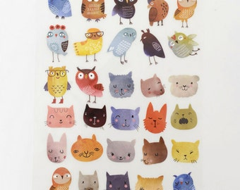 5cm high, Plastic Flocking Tape Sticker, DIY Cloth Art Manual Cloth Decoden Figure Hot Plated Backing Painting - Owl Cat 1Pcs  (ST59)