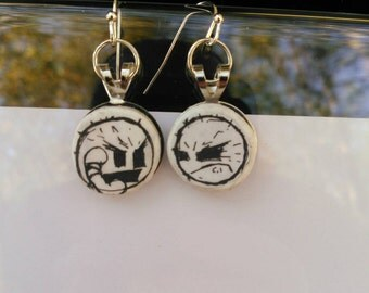 jthm happy noodle boy recycled comic book earrings handmade spooky jhonen Vasquez ooak jewelry