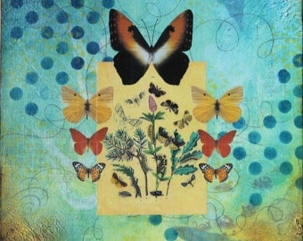 Butterflies mixed media canvas blue yellow