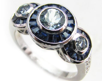 Art Deco Blue Topaz Ring with Sapphire & Diamond, 9ct 9K White Gold, Halo Vintage Women's Ring - Avail 14k, 18k + Rose Yellow, Custom R507
