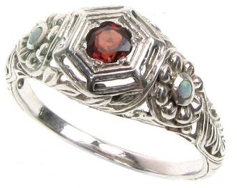 Platinum Garnet & Opal Ring, Vintage Garnet Opal Ring, Victorian Women's Garnet Opal Ring, Anniversary, Custom R128