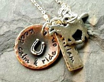 Personalized Hand Stamped Horse Lover Necklace-Sterling Silver Horse Necklace