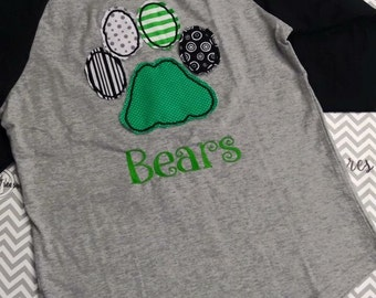 Paw applique Raglan Can be Bears, Cougars, Bulldogs... Any mascot available You choose mascot and colors!