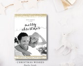 Christmas Wishes | Modern Holiday Christmas Greeting Photo Card | Glitter | Printed or Printable by DarbyCards
