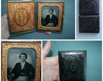 Antique photocase ca 1860 ...very pretty piece. antique picture frame, Victorian, american