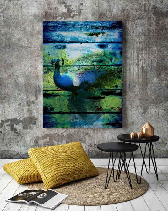 "Peacock. Extra Large Blue Rustic Peacock Canvas Art Print up to 72"" by Irena Orlov, Large canvas blue wall art print, Blue Green Wall art"