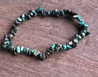 Chrysocolla Stretchy String Chip Bracelet B29