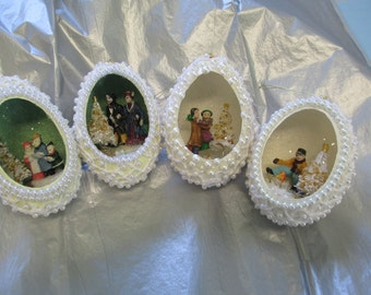 Set of 4 Goose eggs handcrafted Christmas diorama crocheted beaded Ornaments