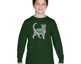 Boy's Long Sleeve T-shirt - Cat Created out of cat themed words