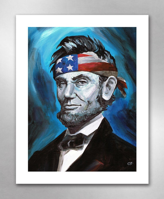ABE LINCOLN Awesome Blue American Art Print 11x14 by Rob Ozborne