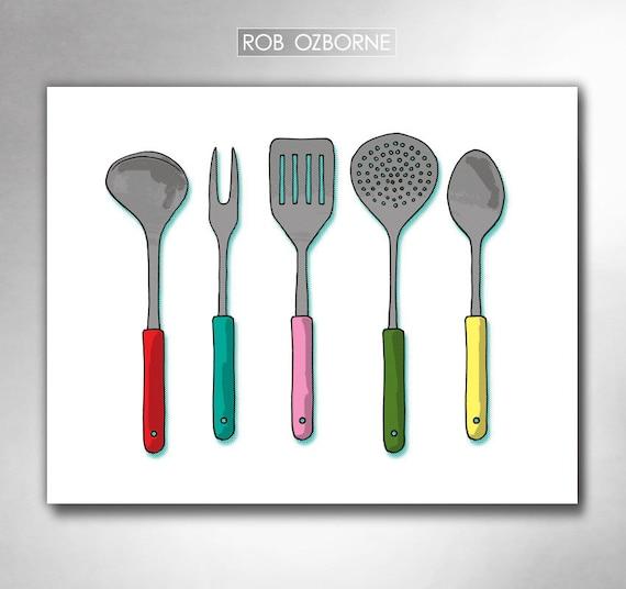 Modern kitchen utensils mid century atomic kitchen art print by rob