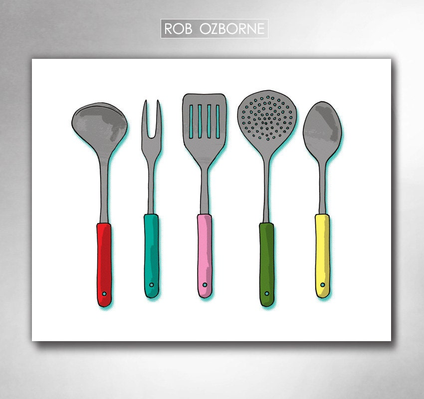 Modern kitchen utensils mid century atomic kitchen art print for Modern kitchen utensil