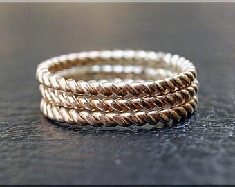 14k Gold Ring Stack, Set of three 14k gold filled rings, Twisted Gold Stacking Rings, twisted gold filled rings, Stack of 3 rings