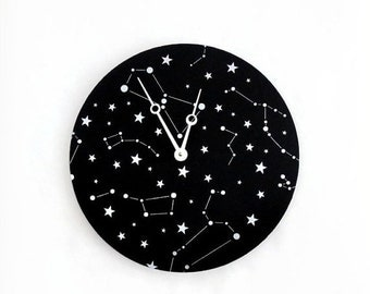 Constellation Wall Clock, Black and Silver Clock, Astrology, Astronomy Clock, Home and Living, Home Decor, Decor & Housewares