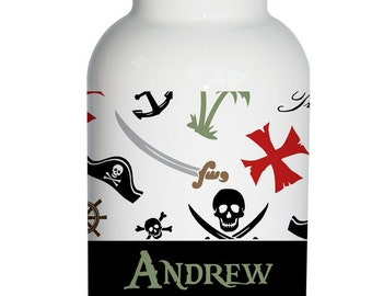pirate nautical Personalized Aluminum Water Bottle