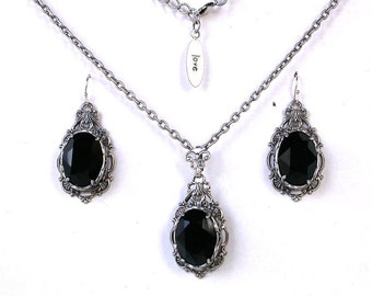 Black Jewelry Set Necklace Earrings Black Swarovski Crystal Necklace Earrings Gothic Wedding Jewelry Set Victorian Gothic Jewelry