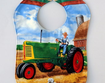 Reversible Oliver Tractor Baby Bib. Choose from Oliver 1600, 77, 1800 or 770 Model