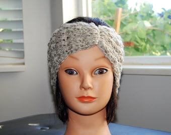 natural wool crochet headband